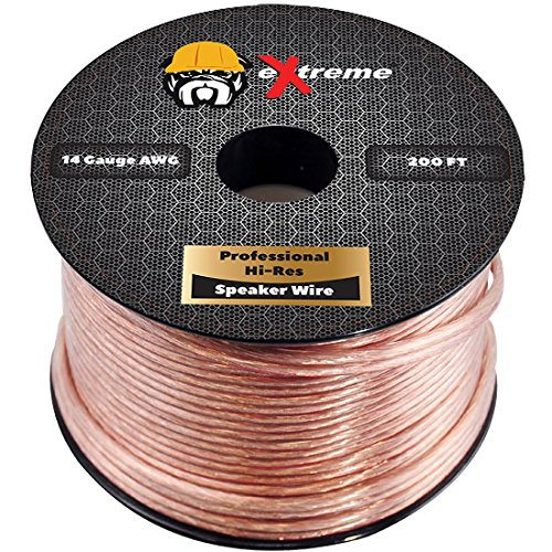 eXtreme Products 2 Conductor 14 Gauge Stranded Copper Core Speaker Wire (No Aluminum Core) for Home Theater Speakers Radio Speakers Car Audio or Any Audio Interface - 250 Foot Clear Coat