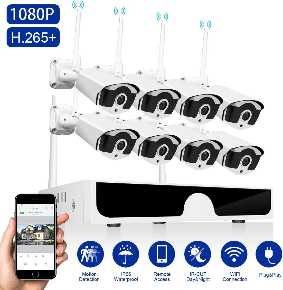 Wireless Security Camera System 1080P Abowone Wireless 8 Channel H.265 NVR 8PCS 2.0MP 1080P Waterproof Indoor Outdoor Wireless IP Cameras Motion Detect Remote View 100ft Night Vision No Hard Drive