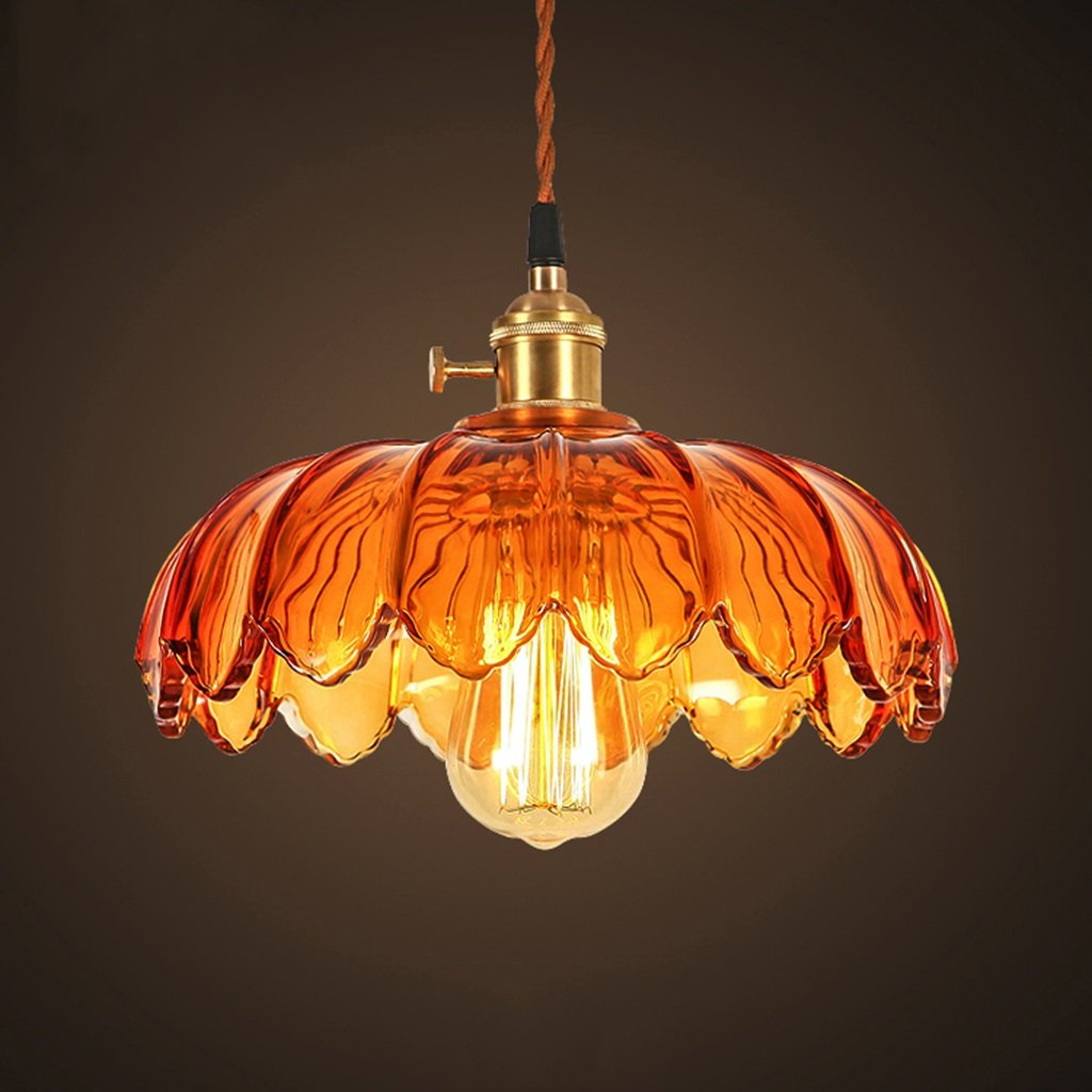 SX-CHENG $Indoor Lighting Glass Chandeliers, American Style Retro Bar Cafe Bar Color Lotus Glass Lamp (Color : A)