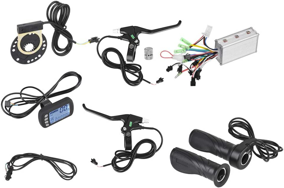 Dilwe Kit de Panel LCD de Controlador de Motor sin Escobillas con Ajuste de Freno de Velocidad Sensor para Bicicleta Eléctrica 24V 36V 250W 350W