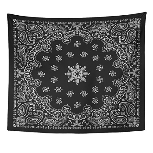 TOMPOP Tapestry Colorful Pattern Black Paisley Bandana Scarf Border Kerchief Vintage Home Decor Wall Hanging for Living Room Bedroom Dorm 50x60 - Silk Black Tapestry