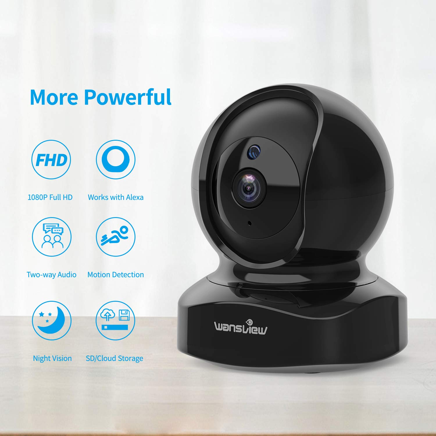 Wireless Security Camera, IP Camera 1080P HD Wansview, WiFi Home Indoor Camera for Baby Pet Nanny, Motion Detection, 2 Way Audio Night Vision, Works with Alexa, with TF Card Slot and Cloud