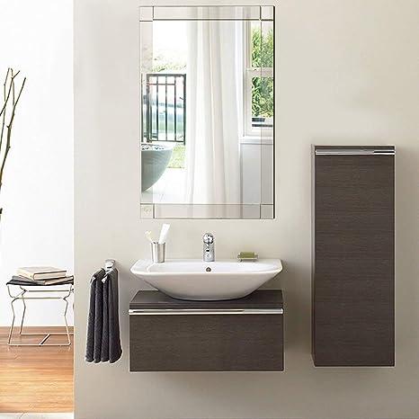 Tangkula Wall Mirror Vanity Mirror Home Bathroom Office Bedroom Frameless Hanged Rectangle Make Up Mirror Wall Mounted Rectangular