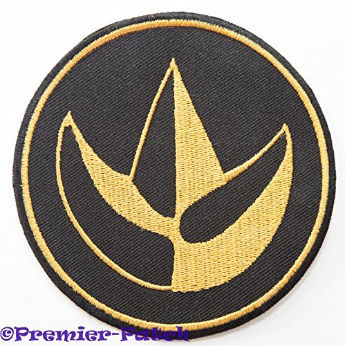 Black Dino Thunder Power Ranger Costume (Mighty Morphin Power Rangers Embroidered Iron on Patch / Green Ranger Dragon Logo Badge Applique Costume Fancy Dress)
