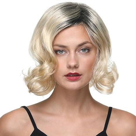 Corto ondulado BOB pelucas parte lateral Ombre Blanco y negro Color 12 pulgadas Extensiones sintéticas Kanekalon