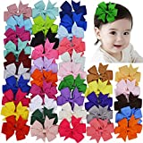 Hair Bows, Coxeer 40Pack Hair Bows for Baby Girl Alligator Clips Easter Basket Stuffers Grosgrain Ribbon Boutique Hair Accessories for Baby Girls Kids Teens Toddlers Children Newborn