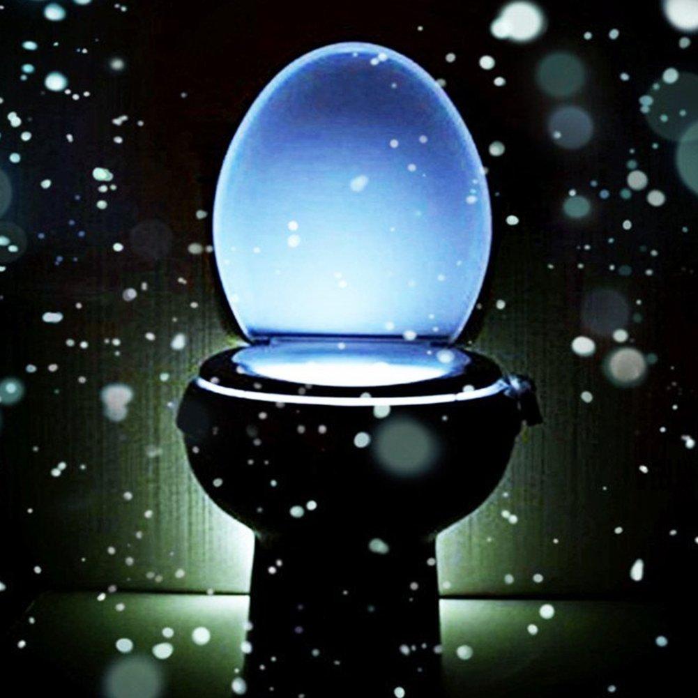 WC Sitz Up 8 Farben ändern Körperbewegungssensor Automatische LED Licht  Toilettenschüssel Deckel Badezimmer Einhängesitz Nachtlicht  Lampe MaiTian:  ...