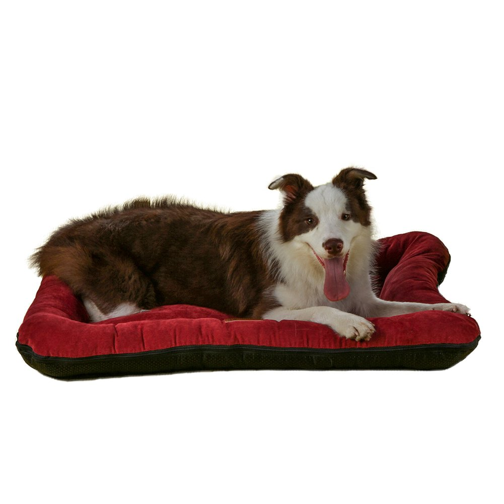 QIAOQI Dog Crate Bed,Soft Warm Summer Cushion Mat Kennel Mattress for Dogs or Cats Large Wine