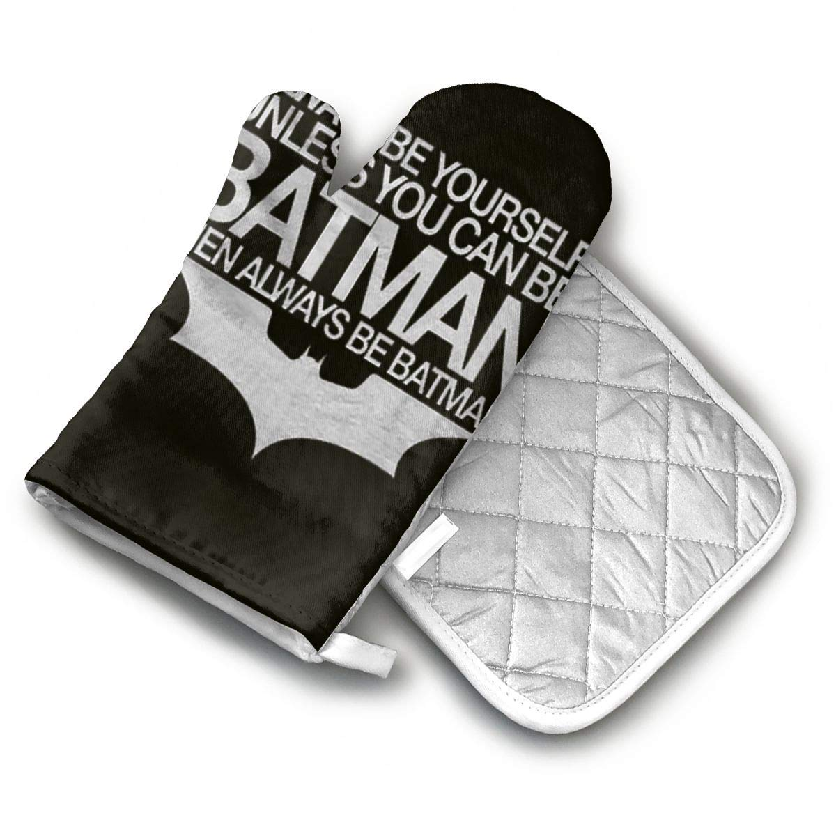 AISDHAJKSD Always Be Yourself Unless You Can Be Batman Then Always Be Batman Premium Terylene/Nylon Oven Mitts and Pot Mat,Pot Mat/Hot Pads, Heat Resistant Gloves BBQ Kitchen