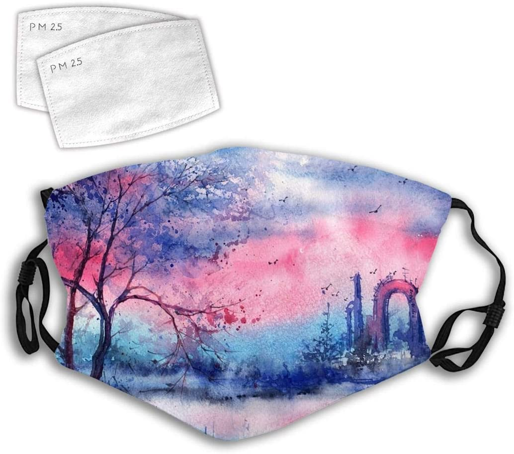 166 Trees Woods Forests Trees Background Mouth Covers 3D Design Fashion Dustproof Unisex with Adjustable Elastic Strap
