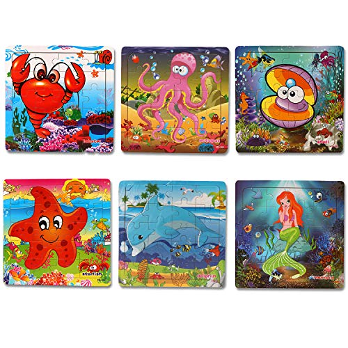 6 Pack Wooden Jigsaw Puzzles for Kids Age 2-8 Year Old 20 Pieces Colorful Marine Animals Jigsaw Puzzles Set Toys for Kids Children Preschool Learning Educational Puzzles Toys Gift for Boys and Girls
