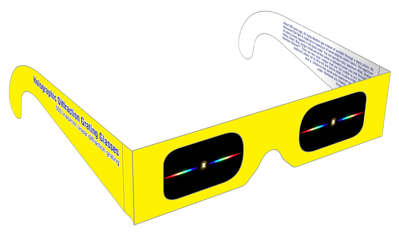 Rainbow Symphony Diffraction Grating Glasses - Linear 500 Line/Millimeters, Package of 100