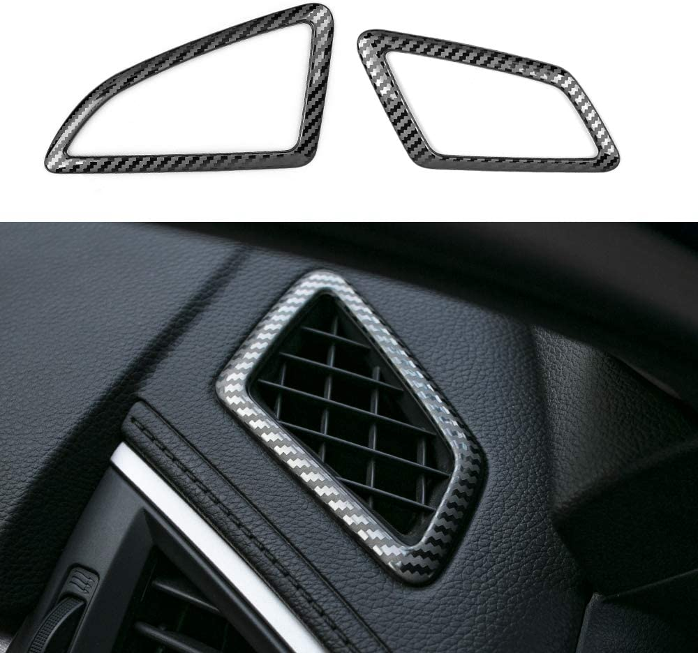 CKE Civic Dashboard Air Vent Wind Outlet Cover Trim Sticker Stainless Steel Carbon Fiber Texture For 10th Gen Civic 2016 2017 2018 2019 2020
