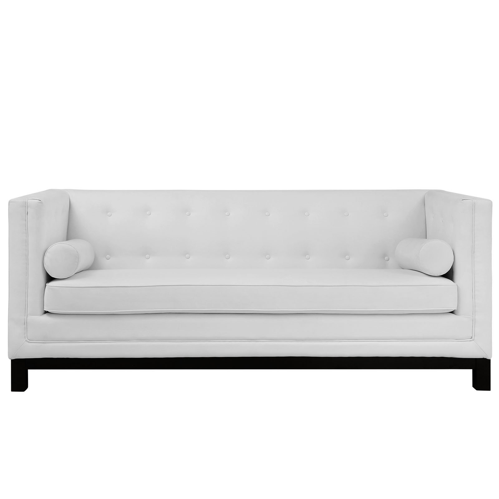 Modway Imperial Club Style Tuxedo Modern Sofa With [Bonded] Leather Upholstery And Two Bolster Pillows In White by Modway