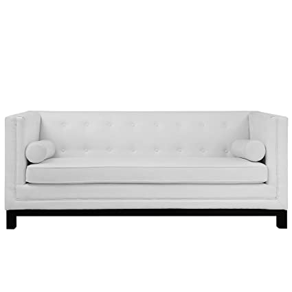 Modway Imperial Club Style Tuxedo Modern Sofa With [Bonded] Leather  Upholstery And Two Bolster
