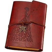 TOYANDONA Caderno vintage de couro, caderno, caderno, caderno, encadernado, papel kraft para arte, caderno de desenho…