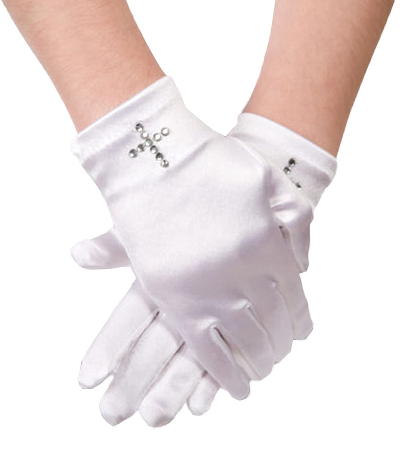 Flora Satin Girl's Short Fingered Communion Glove, Wrist Length with Diamante Cross cross veil