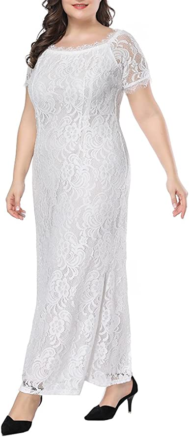 Womens Plus Size Lace Bridesmaid Dresses Maxi Wedding Dresses Off Shoulder Evening Cocktail Party Prom Gown At Amazon Women S Clothing Store,Navy Blue Dress For Wedding Guest Plus Size