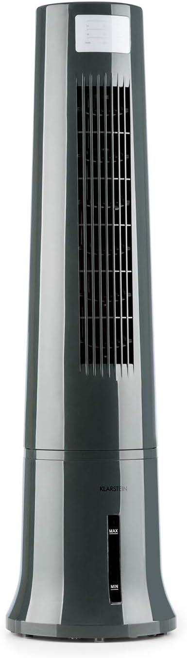 KLARSTEIN Highrise – Ventilador Enfriador 3 en 1, humidificador de Aire de 35 W, caudal de 530 m³/h, depósito de 2,5 l, Mando a Distancia, Gris