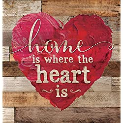 Home is Where the Heart Is Red Heart 12 x 12 inch Wood Board Plank Wall Sign Plaque