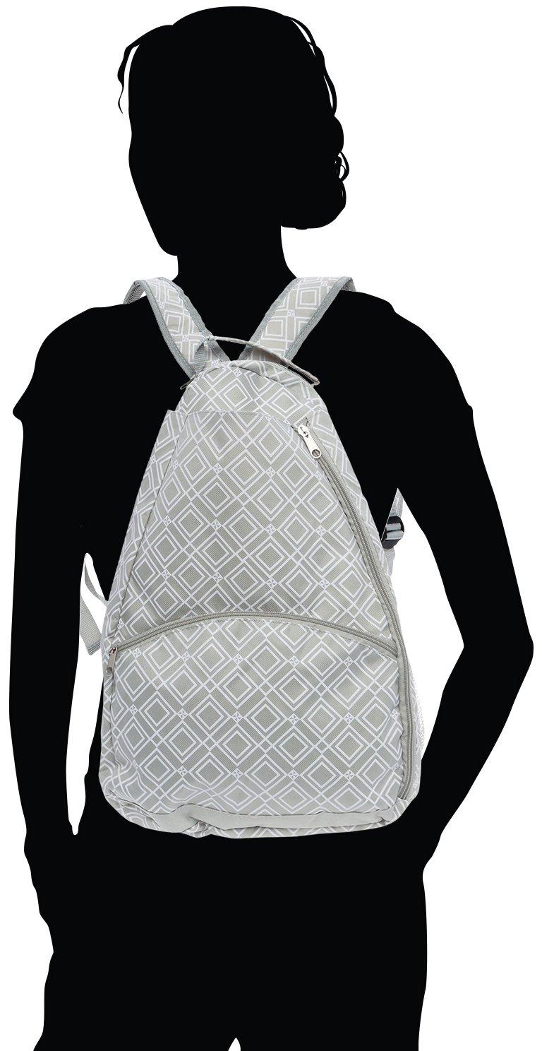 Womens Geometric Diamond Print Tennis Racquet Holder Bag LISH Advantage Tennis Racket Backpack
