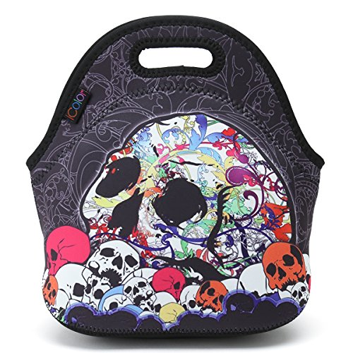 ICOLOR Skull Boys Girls Insulated Neoprene Lunch Bag Tote Handbag lunchbox Food Container Gourmet Tote Cooler warm Pouch For School work -