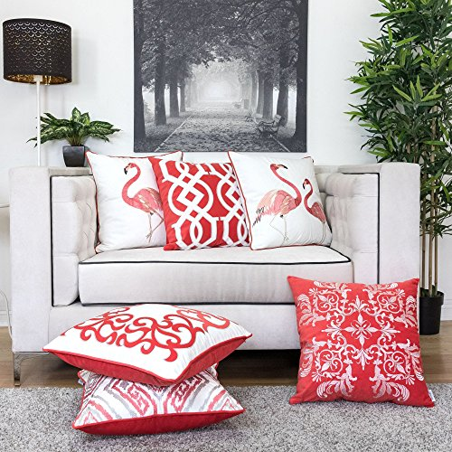 Homey Cozy Applique Coral Velvet Throw Pillow Cover,Passionate Series Geometric Knot Bright Spring Tropical Decorative Pillow Case Home Decor 20x20,Cover Only