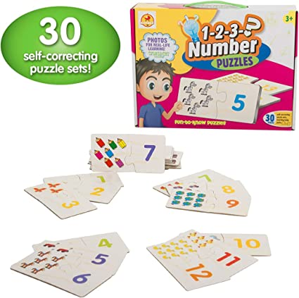 Baybee Number Fun Counting - Puzzle Games Fun with Words/Self-Correcting Number & Learn to Count Puzzle/Birthday Gift Set for Kids, 3 Year Old Boys and Girls