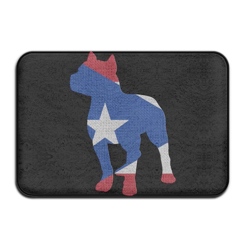 Patriotic Pitbull Puerto Rico Flag Indoor Outdoor Entrance Rug Non Slip Tub Mat Doormat Rugs for Home