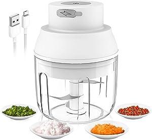 Electric Garlic Chopper, 250ml Chopper Food Processor, Garlic Mincer for Chop Onion Ginger Vegetable Pepper Spice Meat, Baby Food, BPA Free (White)