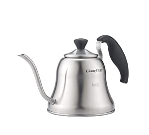 ChangBERT Pour Over Tea Coffee Kettle Gooseneck Stainless Steel Teapot, Works on Gas, Electric, Induction Stovetop - 1L (34oz)