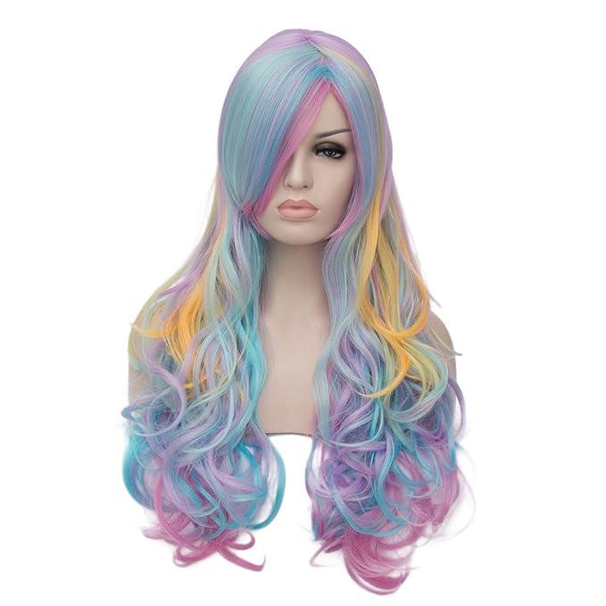 Amazon Oyixu 70cm 275 Multicolor Rainbow Highlights Women