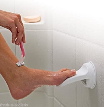 Delightful Shower Foot Rest Bathroom Shaving Leg Aid Stool Grip Mat Rack Holder Razor!