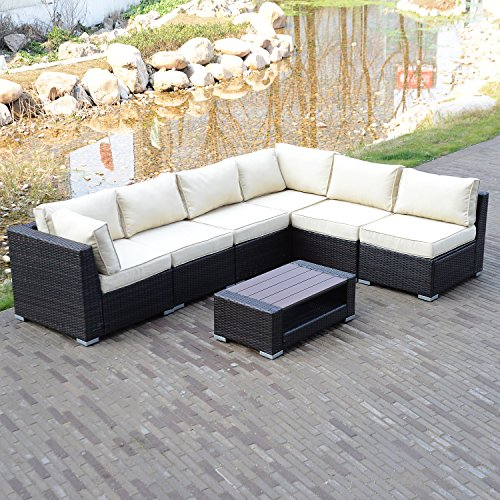 UHOM 7 Pieces Rattan Wicker Sectional Furniture Set Outdoot Patio Cushioned Garden Sofa Set (6 Seater Rattan Garden Furniture Sets)
