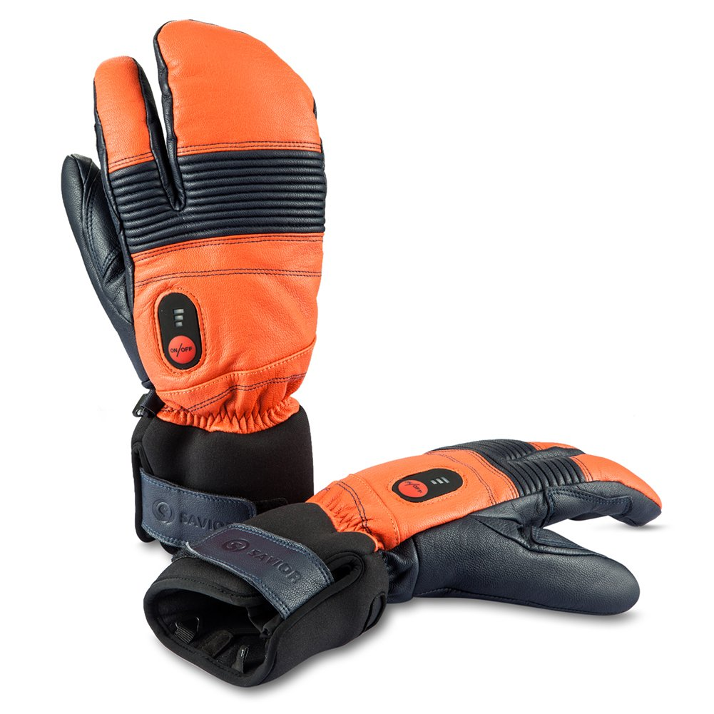 Savior Heated Gloves for Men and Women, Warm Gloves for Cycling Motorcycle Hiking Skiing Mountaineering, Works up to 2.5-6 hours (XXXL, Orange)