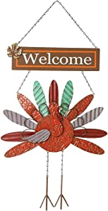 yofit Thanksgiving Metal Turkey Welcome Sign, Wall Hanging Turkey Front Door Art Plaque Decoration for Harvest Day Autumn Fall Thanksgiving Decor