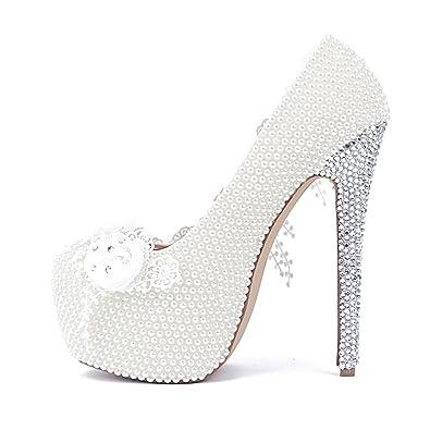 52c389ec5867d1 Amazon.com  Lacitena Lace White Flower Bride High Heels,Pearl ...