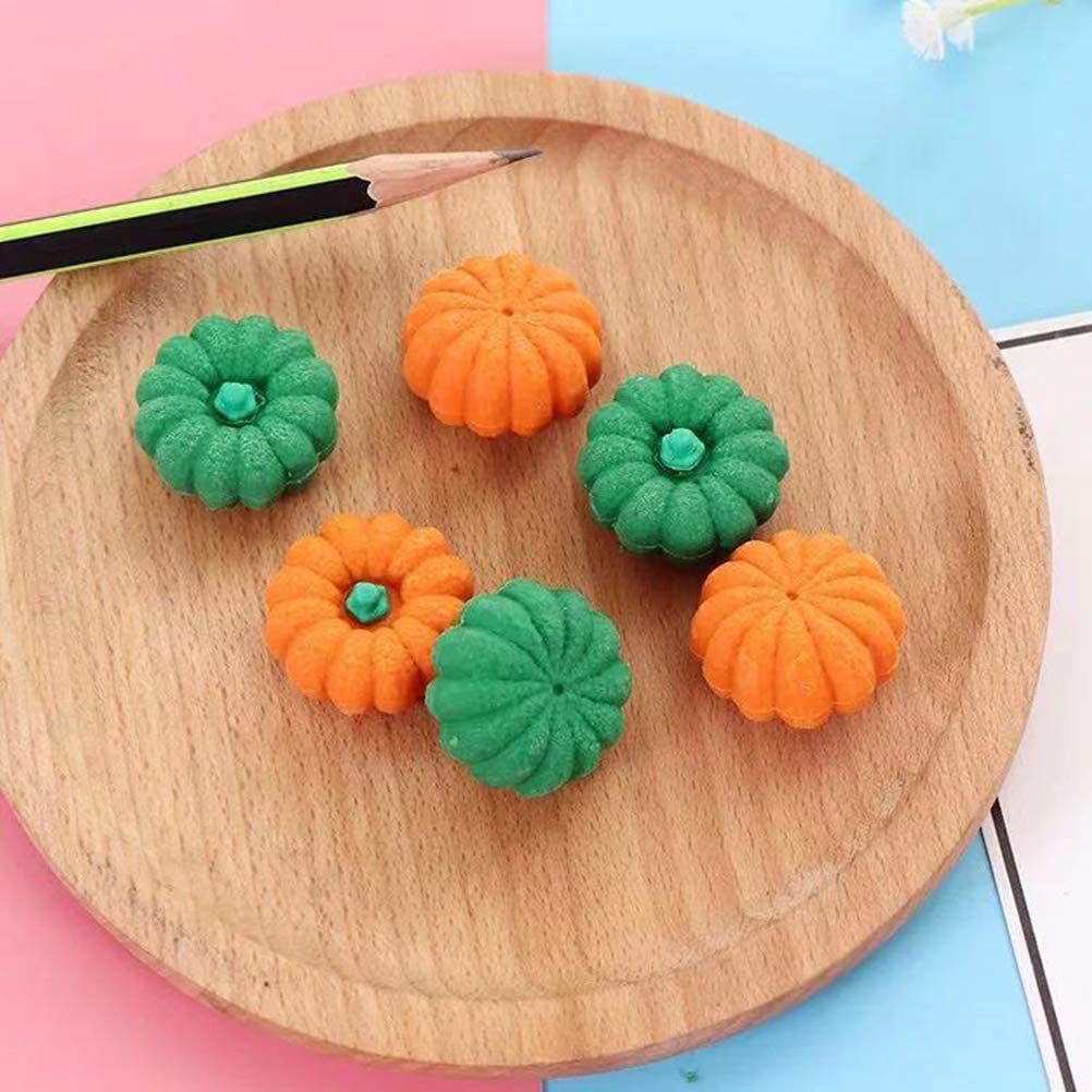 Random Color TOYANDONA 12Pcs Halloween Pumpkin Erasers Rubber Pencil Erasers Jack-o-Lantern Mini Erasers Mini Novelty Party Favors for Halloween