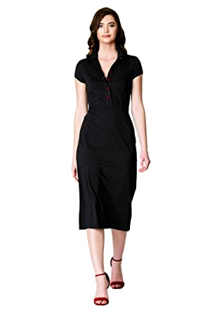 a2f38f1212a21 eShakti FX Cotton Knit Contrast Button Sheath Dress XS-0 Short Black red at Amazon  Women s Clothing store