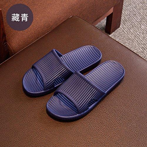DogHaccd Zapatillas,Estancia estival parejas zapatillas chica del dormitorio, baño y ducha exterior antideslizante arrastre la palabra fresca zapatillas macho Azul oscuro2