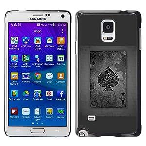 TopCaseStore / la caja del caucho duro de la cubierta de protección de la piel - Ace Spades Grey Poker Gambling Cards - Samsung Galaxy Note 4 SM-N910