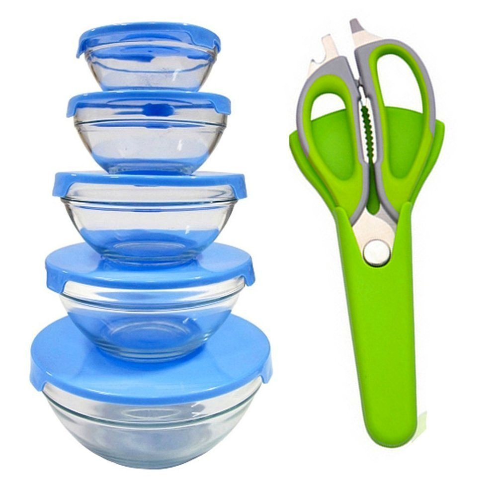 PU Health Pure acoustics 5-piece glass food storage bowl set with free poultry scissors- blue, BLUE, 430.91239999999999 Gram