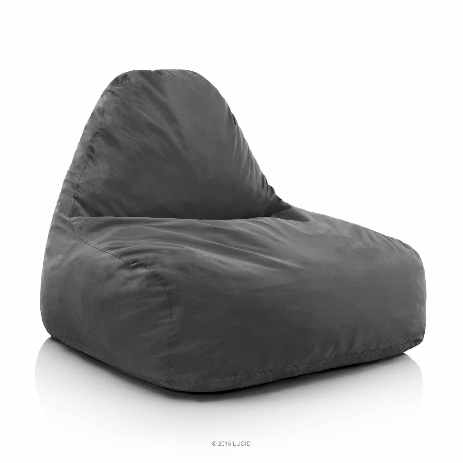 LUCID Oversized Shredded Foam Lounge Chair - Charcoal by LUCID