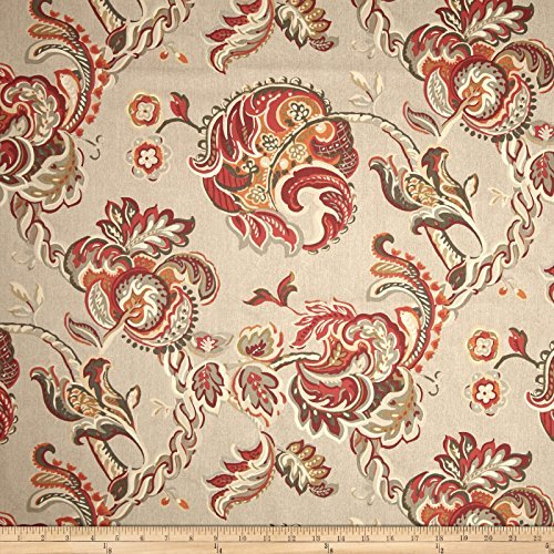 Waverly Summer Canvas Chintz Lantern Red Fabric By The Yard
