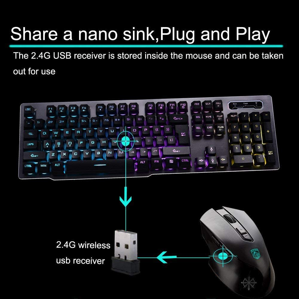 Wired USB Set Luminous Suspension Mechanical Feel Game Mouse and Keyboard Kit Office Color : White HUIJUNWENTI Keyboard and Mouse Game Dedicated