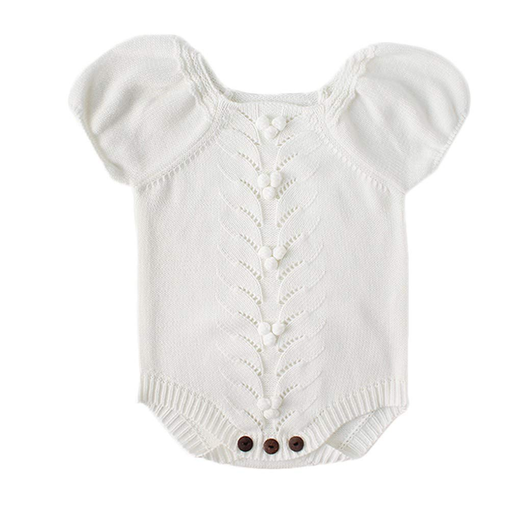 NUWFOR Newborn Baby Girls Boys Knitted Toddler Puff Sleeves Jumpsuit Clothes Outfits(White,12-18Months) by NUWFOR (Image #1)