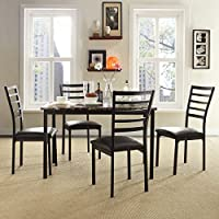 TRIBECCA HOME Darcy II Espresso Contoured Metal Dining Chairs, Set of 4
