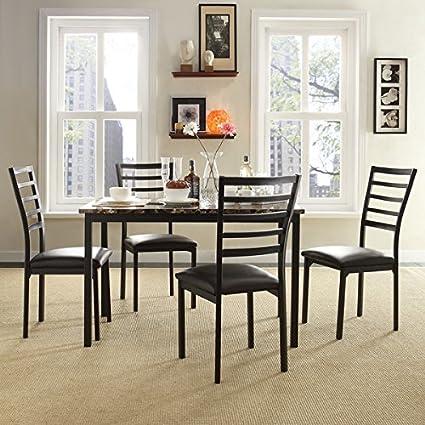 Bon TRIBECCA HOME Darcy II Espresso Contoured Metal Dining Chairs, Set Of 4