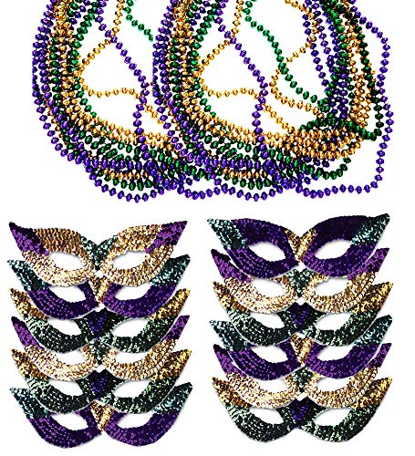 Funny Party Hats Mardi Gras Face Mask & Beads - Mardi Gras Mask Bulk - Mardi Gras Necklaces - Mardi Gras Costumes