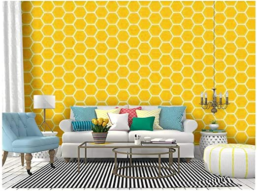 Amazon Com Self Adhesive Wallpaper Roll Paper Yellow Honeycomb Honey Seamless Eps Hexagons Of Geometric Shapes Removable Peel And Stick Wallpaper Decorative Wall Mural Posters Home Covering Interior Film Kitchen Dining